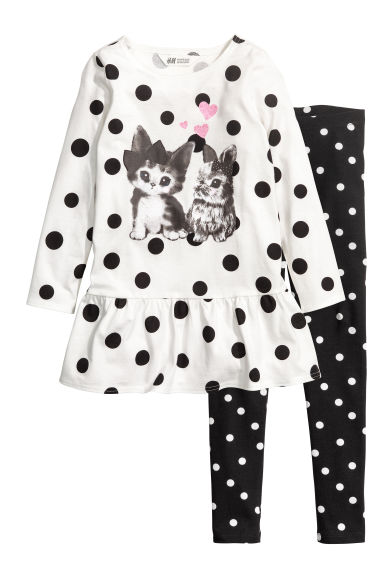 Dress and leggings - White/Black spotted - Kids | H&M CN
