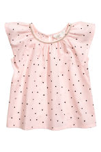 Frill-sleeved cotton blouse - Light pink/Spotted -  | H&M 2