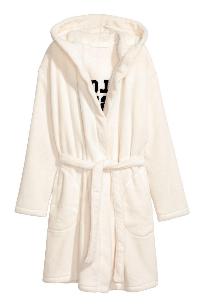 Fleece dressing gown - White/Pillow Fight - Ladies | H&M GB