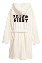 Bademantel aus Fleece - Weiss/Pillow Fight - DAMEN | H&M CH 3