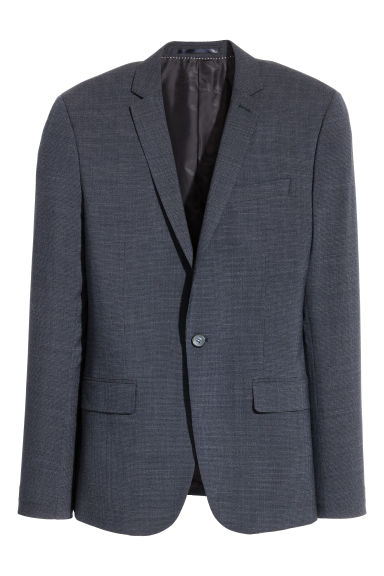 Jacket Skinny fit - Dark blue/Small checked - Men | H&M IE