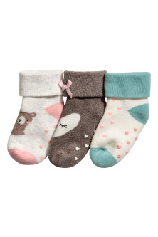 3-pack terry socks