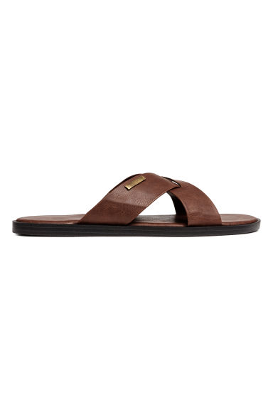 Slides - Dark cognac brown - Men | H&M CN