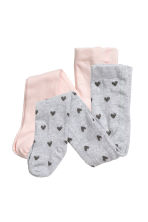 2-pack tights - Pink/Hearts - Kids | H&M 1