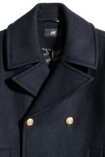 Wool-blend pea coat - Navy blue - Men | H&M 3