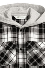 Hooded flannel shirt - Black/White checked -  | H&M 3