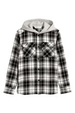 Hooded flannel shirt - Black/White checked -  | H&M 2