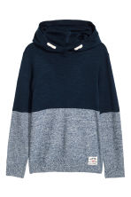 Knitted hooded jumper - Dark blue - Kids | H&M CN 2