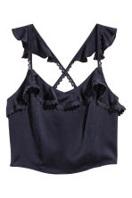 Cropped flounced top - Dark blue -  | H&M 2