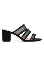 Mules with mesh straps - Black - Ladies | H&M 1