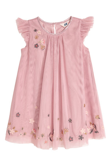 Tulle dress with embroidery - Old rose - Kids | H&M CN