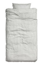 Washed linen duvet cover set - Light beige/Striped -  | H&M CN 2