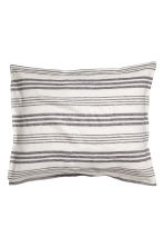 Washed linen pillowcase - Light beige/Striped - Home All | H&M CN 2