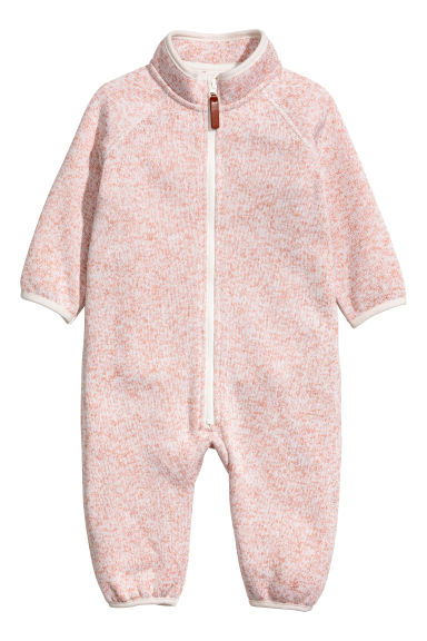Fleece all-in-one suit - Light pink marl -  | H&M