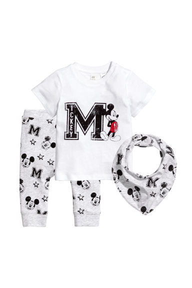3-piece jersey set - White/Mickey Mouse -  | H&M