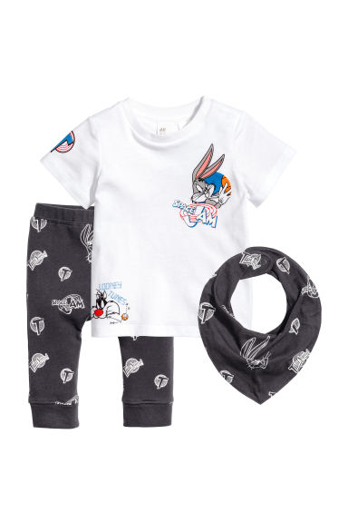 3-piece jersey set - Black/Bugs Bunny - Kids | H&M 1