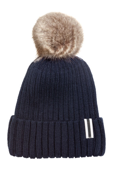 Rib-knit hat - Dark blue - Kids | H&M