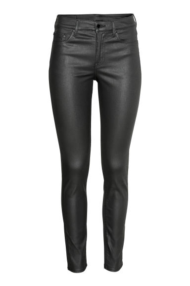 Skinny Regular Jeans - 黑色/涂层 - Ladies | H&M CN