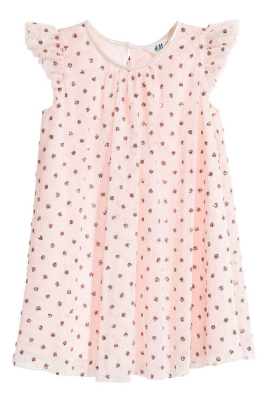Glittery tulle dress - Light pink/Spotted - Kids | H&M