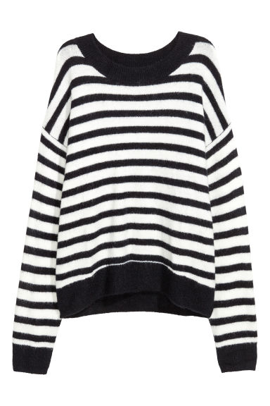 Fine-knit jumper - Midnight blue/White striped - Ladies | H&M CN