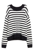 Fine-knit jumper - Dark blue/White striped - Ladies | H&M IE 2