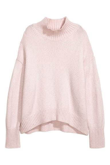 Knitted polo-neck jumper - Powder pink -  | H&M