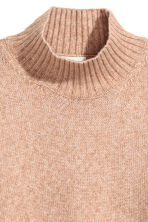 Knitted polo-neck jumper - Beige marl - Ladies | H&M 3