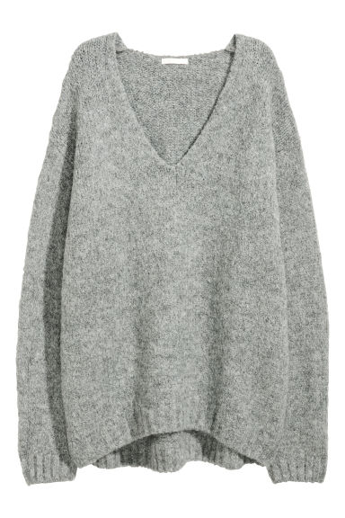 Knitted wool-blend jumper - Grey -  | H&M CN
