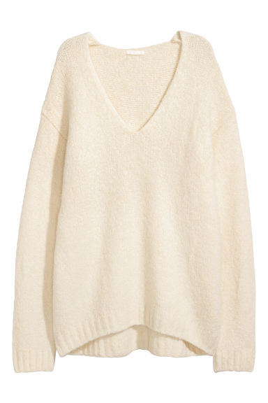 Knitted wool-blend jumper - Natural white - Ladies | H&M