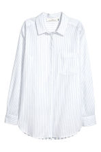 Cotton shirt - White/Blue striped - Ladies | H&M 2