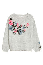Knitted jumper with embroidery - Light grey marl - Ladies | H&M CN 2