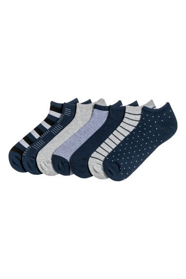 7-pack trainer socks - Dark blue/Patterned - Men | H&M GB