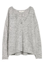 V-neck jumper - Light grey marl - Ladies | H&M CN 2