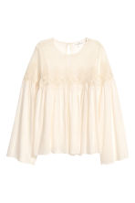 Lace-yoke blouse - Natural white - Ladies | H&M 2