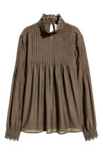 Blouse with lace details - Khaki green - Ladies | H&M 2