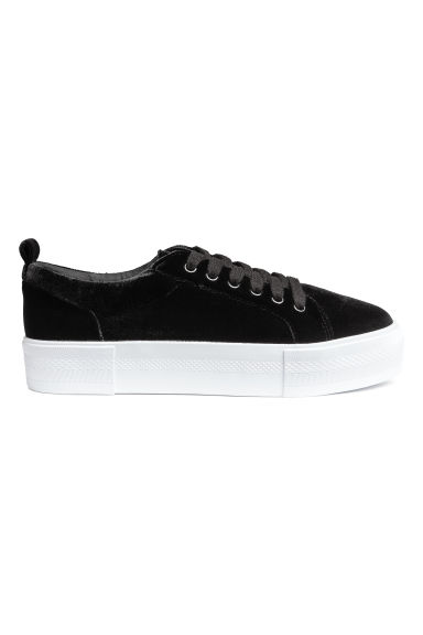 Platform trainers - Black/Velvet - Ladies | H&M