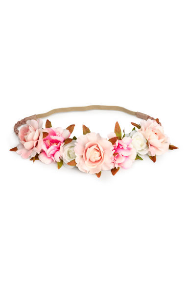 Hairband with flowers - Beige/Pink -  | H&M 1