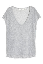 Lyocell V-neck top - Grey marl - Ladies | H&M CA 2