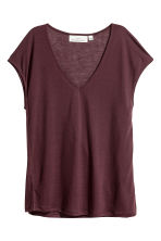 Lyocell V-neck top - Plum -  | H&M 2