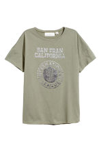 Wide T-shirt - Khaki green - Ladies | H&M CN 2