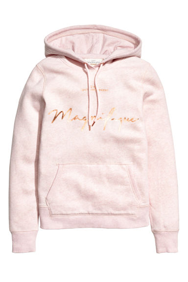 Sweat-shirt à capuche - Rose clair chiné - FEMME | H&M BE