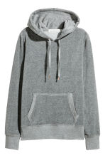 Velour hooded top - Light grey - Ladies | H&M IE 2