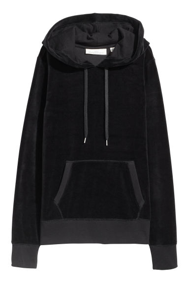 Velour hooded top - Black - Ladies | H&M CN