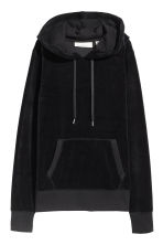 Velour hooded top - Black - Ladies | H&M 2