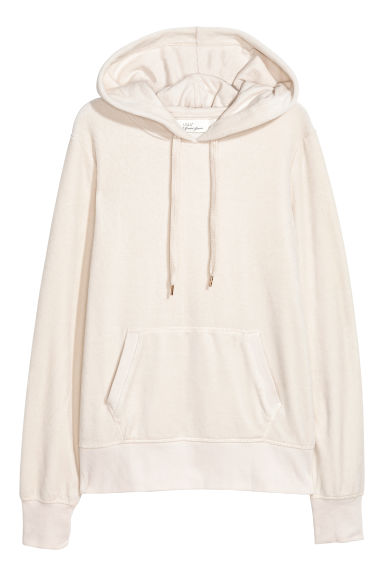 Velour hooded top - Light beige - Ladies | H&M