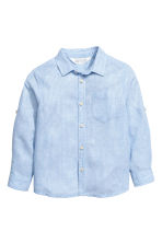 Linen-blend shirt - Light blue/Striped - Kids | H&M 2