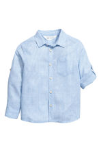 Linen-blend shirt - Light blue/Striped - Kids | H&M 3