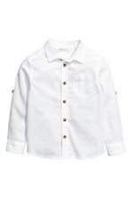 Linen-blend shirt - White - Kids | H&M CA 2