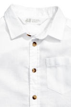 Linen-blend shirt - White - Kids | H&M CN 4