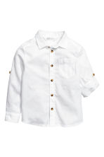 Linen-blend shirt - White - Kids | H&M CA 3